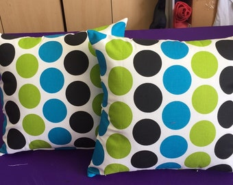 2 fun polka dot  outdoor throw Pillows 16 x 16 with Insert Included