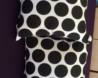 2 fun polka dot Indoor outdoor  Black and White Retro Fun throw Pillows 16 x 16 with Insert Included