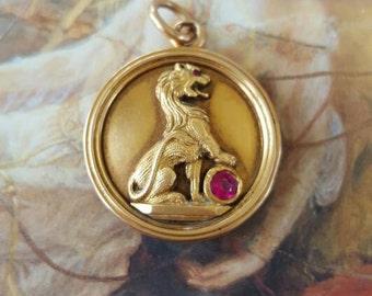 VINTAGE Stunning Solid 14K Gold Ruby Gargoyle/Lion Police Officers Guild Locket