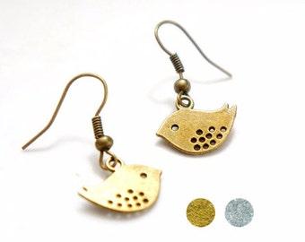 Cute Vintage Style Antiqued Brass or Antiqued Silver Birdie Dangle Earrings - C0002/CP109