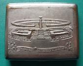 Vintage Soviet CIGARETTE Case SM KIROV Stadium Leningrad Brass melchior-coating