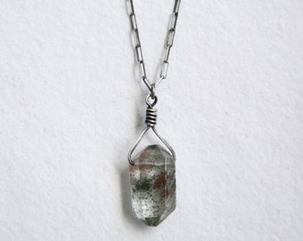 Tibetan Quartz Necklace, Sterling Silver Chain, Crystal Pendant, Quartz, Clear Quartz,