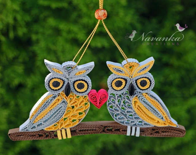 Paper Quilling Owls on a branch - Together Forever Paper Quilled Owls  Ornament Wedding Paper Anniversary Shelf decor, Valentine's Day