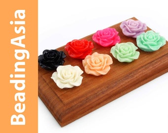 10 pcs Resin Cabochons Flower Rose 20mm Assorted Colors (652-050L)