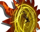 Clock, Sun Metal Art, Clock Art, Outdoor Metal Wall Art, Metal Wall Art, Outdoor Metal Art, Beach Decor, Beach House Decor