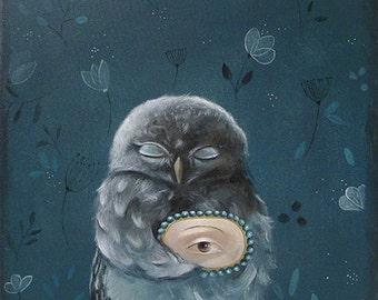 acrylic painting owl PRINT owl Painting of owl print acrylic owl painting , whimsical little barn owl nursery art nursery decor blue indygo