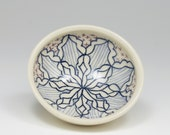 Handmade Ceramic Spoon Rest - Tiny Bowl with Navy, Sky Blue and Purple Pattern