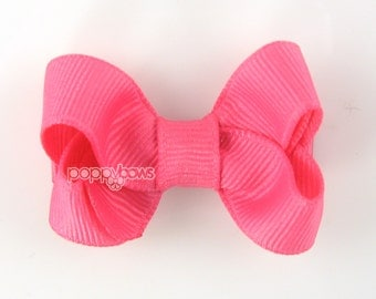 Small Hair Bow 2 Inch in Hot Pink - Toddler Hairbow Non Slip Alligator Clip - for Baby Girls