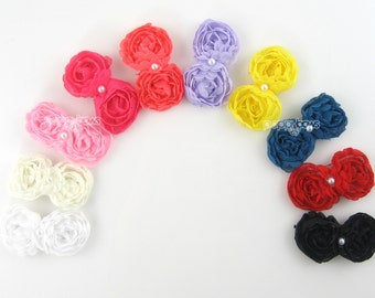Choose 4 Colors - Rosette Baby Hair Clips - infant hair clips - flower hair clips for babies - infant - chiffon pearl - small hair clips