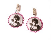 Hot Pink NANCY Cameo Earrings With Silver Rhinestone Earring Posts