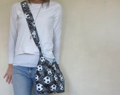 Cross body sports purse. Medium size purse in soccer, basketball, volleyball, baseball, or softball fabric. for the sports player or mom.