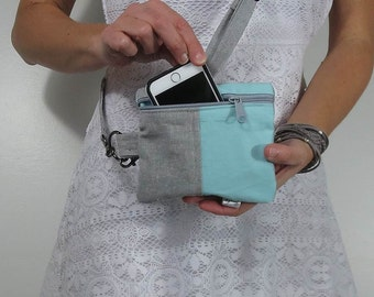 Small cross body purse for accessories in linen blend gray and aqua cotton color block style with choice of zipper color for two zip pockets