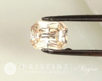 RESERVED Final Payment on Peach Champagne Sapphire Radiant Cut 14k White Gold Diamond Accented Engagement Ring