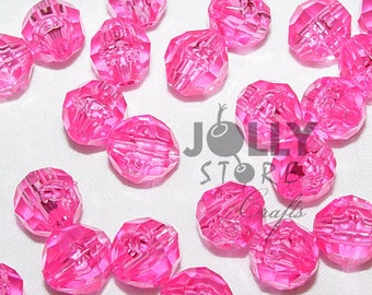 6mm Round Faceted Beads - Shocking Pink Translucent - 500 piece bag