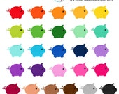 Rainbow Piggy Banks Clipart Set - savings clip art, money, piggybank, rainbow - personal use, small commercial use, instant download