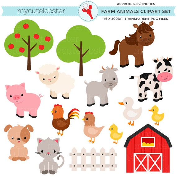 Farm Animals Clipart Set farm barn by mycutelobsterdesigns