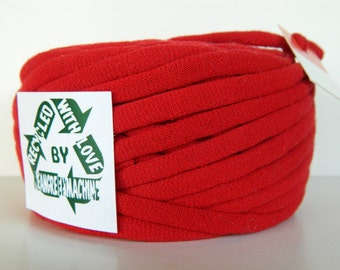 Recycled T-Shirt Yarn, Red 29 Yards , T Shirt Yarn, Bulky Tarn