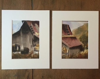 2 - 5x7 inch Diptic barn original watercolor painting! Two 5x7 original watercolors.