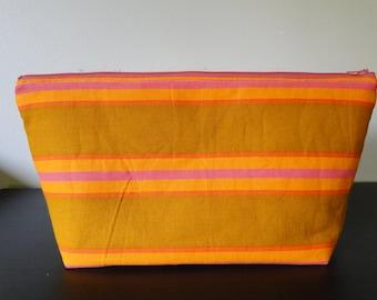 Striped Neon Zipper Pouch/Clutch