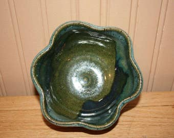 Handmade green pottery bowl, soup bowl, cereal bowl, serving bowl