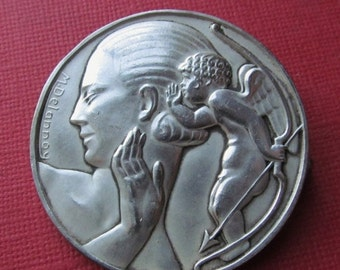 On Sale Art Deco French Brooch Woman And Cupid Antique Art Medal Brooch Signed Delannoy  SS498