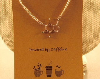 Caffeine Molecule Necklace: Powered By Caffeine Necklace, Caffeine Molecule, Chemistry, Caffeine Addict, Coffee Lover, Friendship Necklace