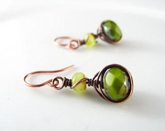 Wire Wrapped Earrings Green Earrings Copper Earrings Wire Wrapped Jewelry Copper Wire Herringbone Wrapped