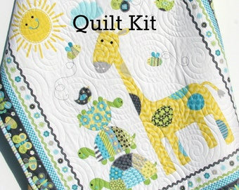 LAST TWO Quilt Kit Bundle of Love Panel Quick Easy Fun Beginner Project Northcott Fabrics Baby Boy Quilt Kit Crib Quilt Gray Giraffe