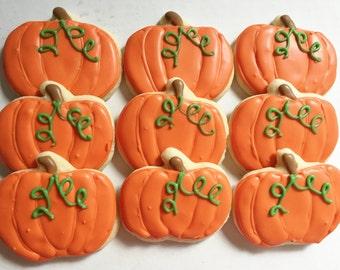 Fall/ Halloween Pumpkin Cookies, Pumpkin Cookies, Halloween Party Favors, Halloween Party, decorated cookies, Halloween Cookies