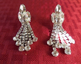Vintage 1950s to 1970s Silver Tone Long Dangles Wedding Bridal Pronged Rhinestones Marquise Clip on Earrings Non Pierced