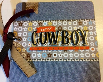 Cowboy scrapbook rodeo scrapbook premade pages chipboard book 6x6 birthday