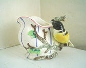 Vintage Vase with Goldfinch Perched on Twig Handle Hand Painted Creamer Jug Planter
