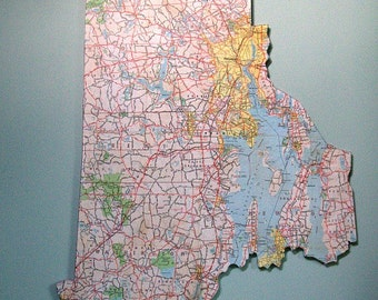 RHODE ISLAND Vintage State Map Wall Art (Large Size)