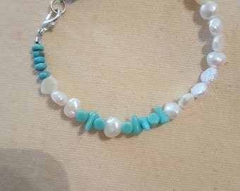 Freshwater Pearl and Turquoise Bracelet