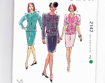 Kwik Sew 2142 Power Suit With Slim Skirt Cute Top With Buttons Sizes 8-10-12-14-16 Uncut Pattern FF