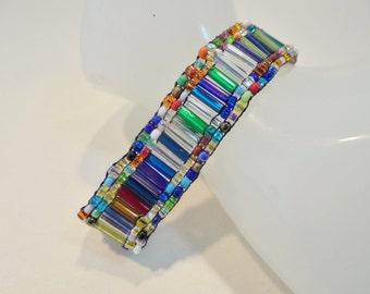 Vintage Multi Colored Glass Seed Bead Bracelet / Bangle / Cuff Boho Tribal Retro Beach Statement Art Deco Runway