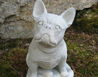 French Bulldog Statue, Concrete Dog Statue, Frenchie, Cement Dog, Garden Decor, Concrete French Bulldog, Dog Memorial Headstone Marker, Dogs