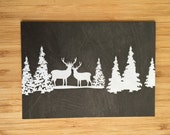 Deer Scene Chalk Art Card - Blank 5x7 Greeting Card with Envelope