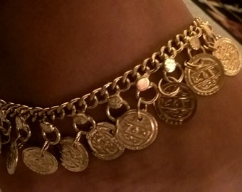 gold plated coin anklet