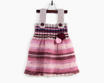 Knitted Baby Dress - Pink, Red and Gray, 2 - 3 years