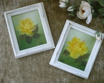 Pair Of Pretty Small Vintage Framed Yellow Rose Oil Paintings On Canvas - Cottage Chic