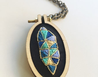 Hand embroidered geometric design necklace. Gift for her under 50. Modern embroidery. Mothers Day jewelry.