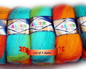 Set of 5 skeins Alize Angora Real40 Batik. Multicolor yarn, wool yarn, wool blend, self striping yarn. Colour of your choice. Wholesale DSH