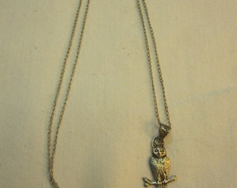 Sterling Silver Owl Pendant on Sterling Chain