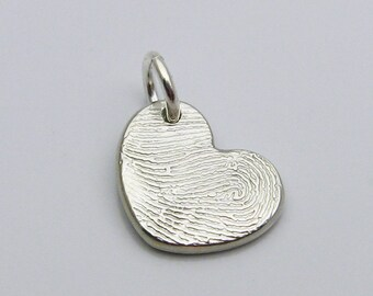 Fingerprint Jewelry, Silver Heart Fingerprint Charm, Fingerprint Pendant, Personalized Charm, In Memory Of, Wedding Charm, Silver Fingerprin