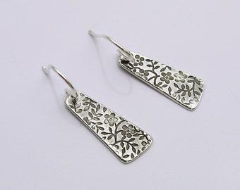 Handmade Sterling Silver Drop Earrings, Sterling Silver Floral Earrings, Floral Drop Earrings, Long Silver Earrings, Dangle