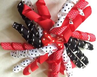 Red, Black & White polka-dot 4 inch korker bow