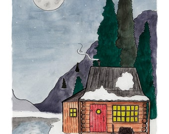 Peaceful Cabin Illustration 8.5 x 11