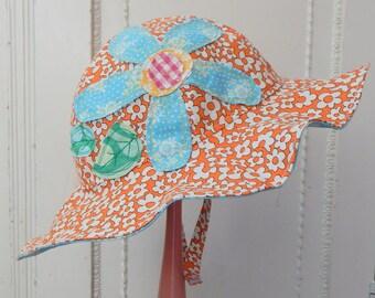 Ready to Ship, Girl Sun Hat, Orange Toddler Sun Hat, 12 to 24 Month Girl Sun Hat, Reversible Sun Hat