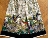 RESERVED for Bianca. Vintage 50s novelty skirt with scenic print and pockets